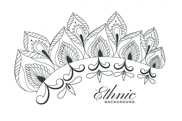 Indian henna style floral decoration background