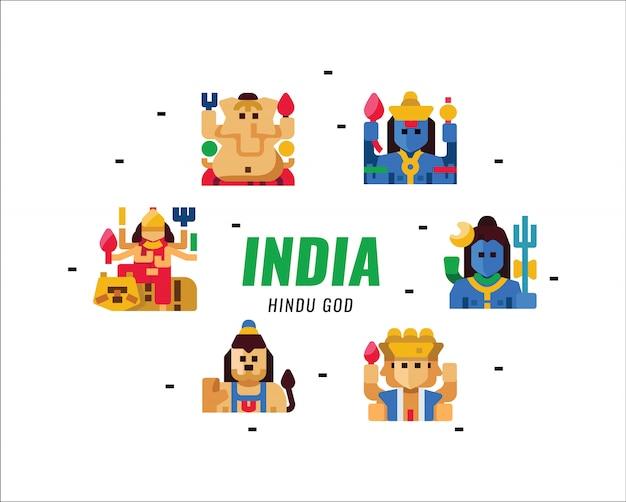 Индийский индуистский бог характер. плоские элементы.
