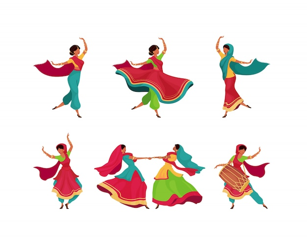 Indian holiday celebration  color  faceless characters set