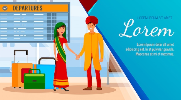 Indian husband and wife on vacation illustration