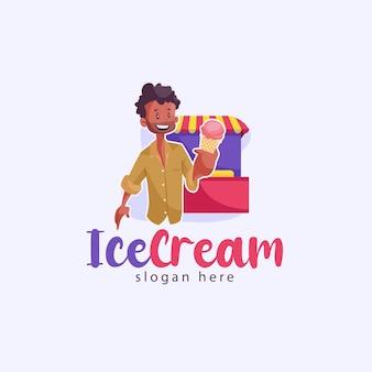 인도 아이스크림 마스코트 로고 템플릿