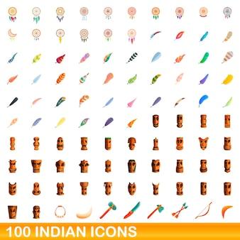 インドのアイコンを設定します。白い背景に設定されているインドのアイコンの漫画イラスト
