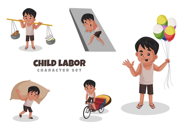 Indian   illustration character set of child doing labor     illustration in cartoon style