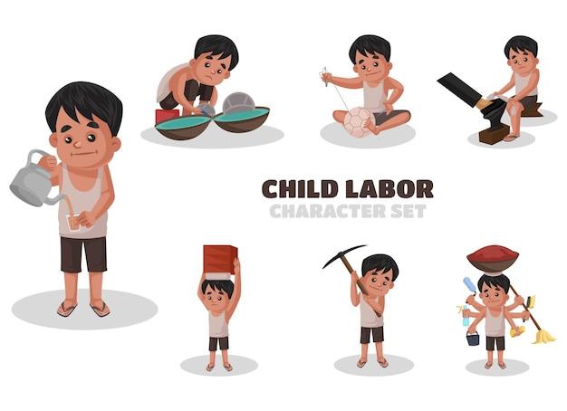 漫画風の労働イラストをやっている子供のインドのイラスト文字セット