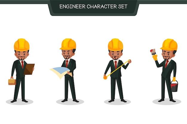 Индийская иллюстрация набора символов инженера в мультяшном стиле