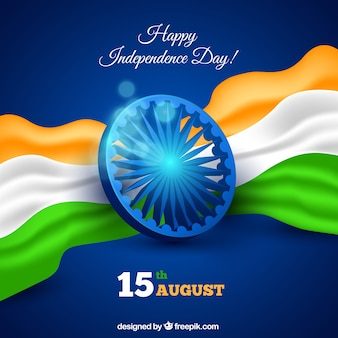 Indian independence day background in realistic style