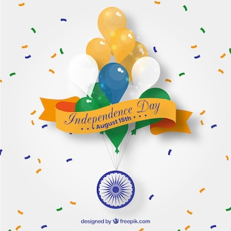 Indian independence day background with balloons
