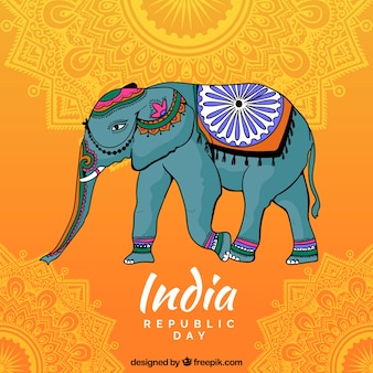 Indian independence day background with decorative elephant