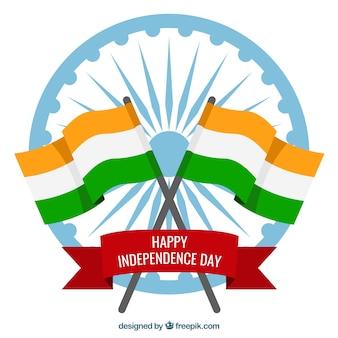 Индийский день независимости фон с флагами