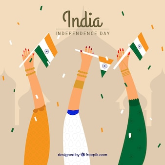 Indian independence day background with hands holding flags