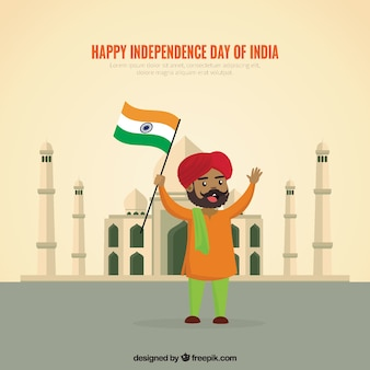 Indian independence day background with happy man