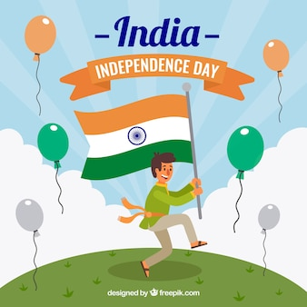Indian independence day background with man celebrating