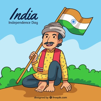 Indian independence day background with man holding flag