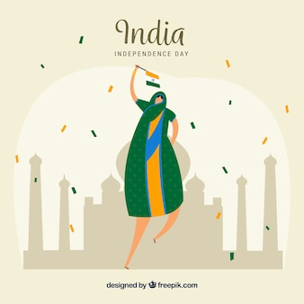 Indian independence day background with person celebrating