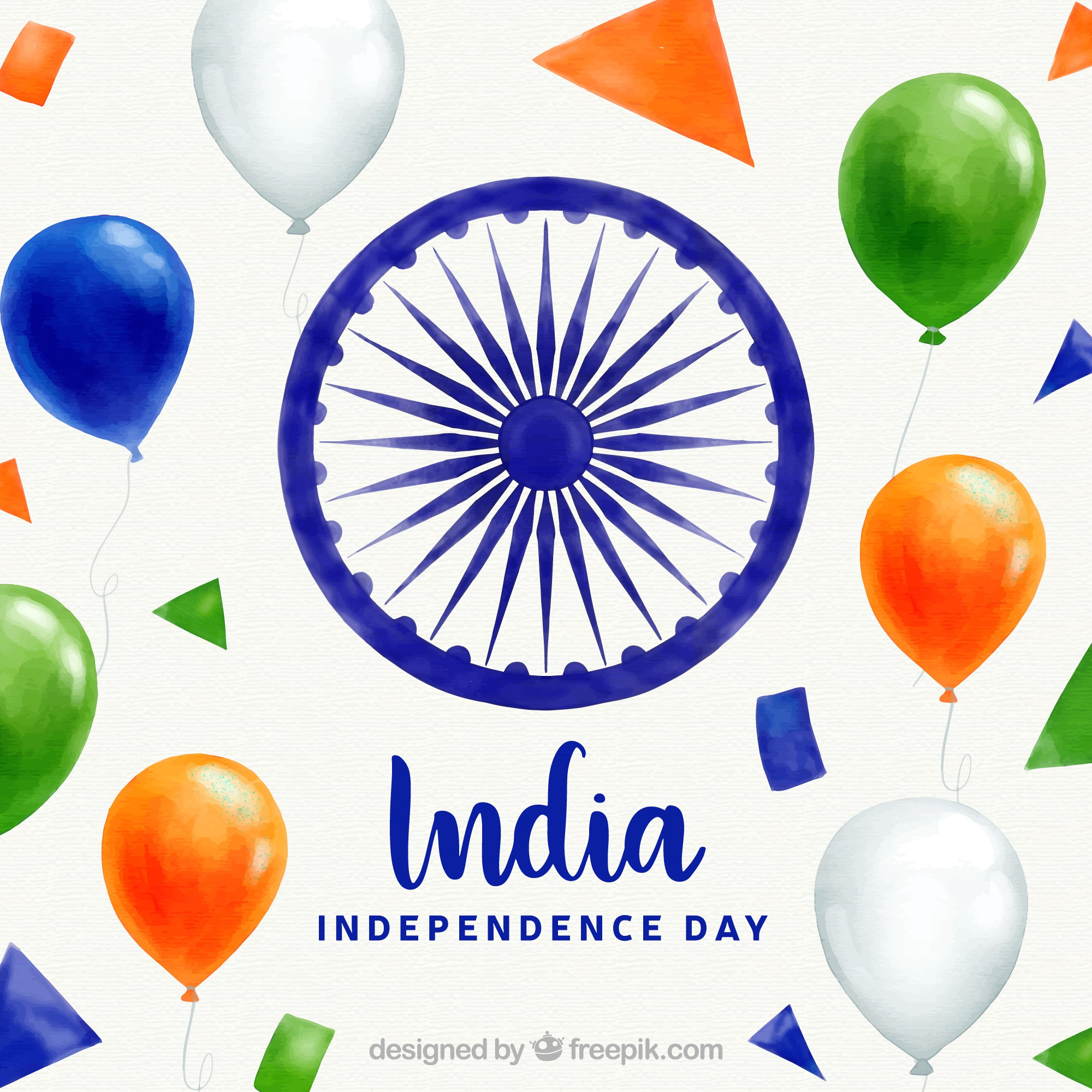 Indian independence day background with realistic balloons