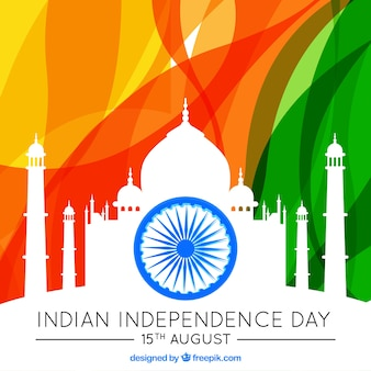 Indian independence day background with taj mahal silhouette