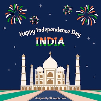Indian independence day background with taj mahal