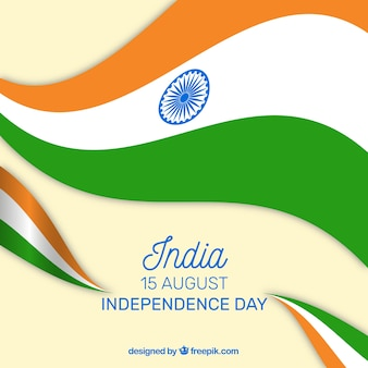 Indian independence day background with wavy flags
