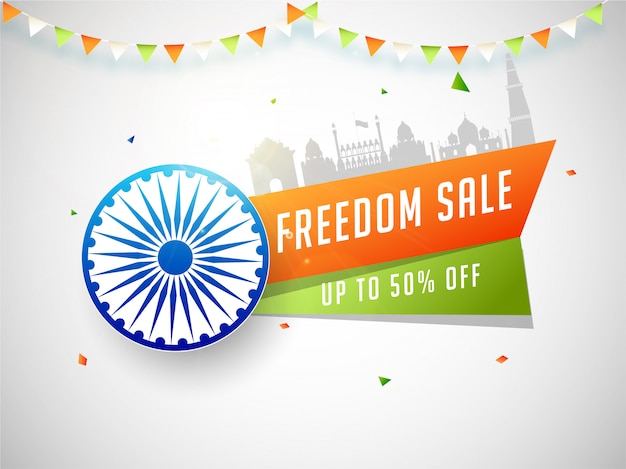 Indian independence day banner freedom sale.