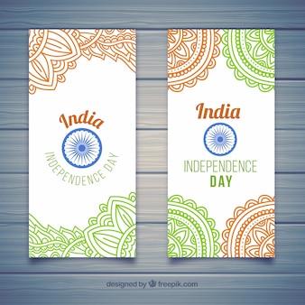 만다라 스타일에서 인도 독립 기념일 배너