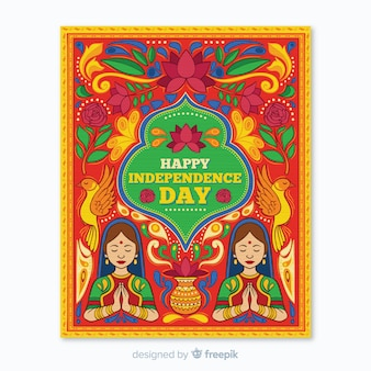 Indian independence day poster template