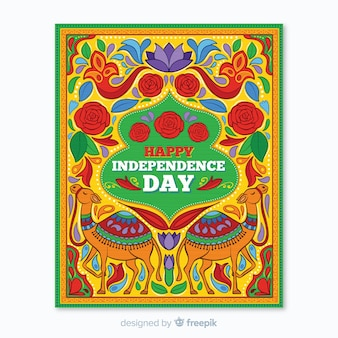 インドの独立記念日ポスターテンプレート 無料ベクター