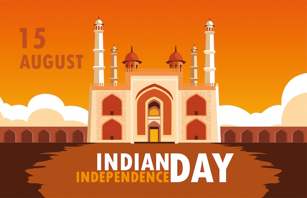 Indian independence day poster with amritsar golden temple