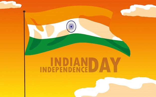 Indian independence day poster with flag