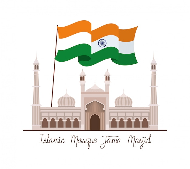 Indian jama masjid temple with flag