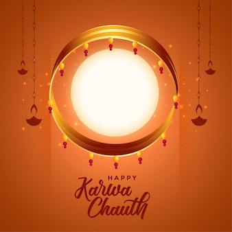 Indian karwa chauth festival background with full moon and diya