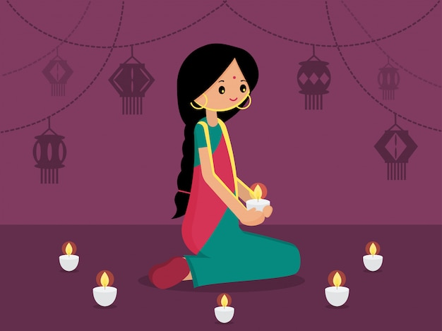 Indian lady with decorated hanging light for happy diwali. modern flat vector illustration. light festival of india background.