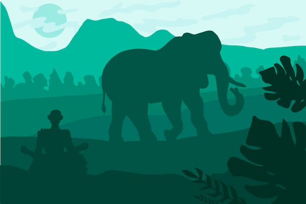 코끼리와 요그가 있는 인도 풍경. 열 대 야생 동물 파노라마입니다. 녹색 색상의 자연 장면입니다. 벡터