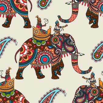 Indian maharadjah on elephant seamless background