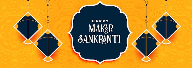 Indian makar sankranti festival of kites banner design
