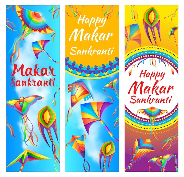 Indian makar sankranti holiday festival banners