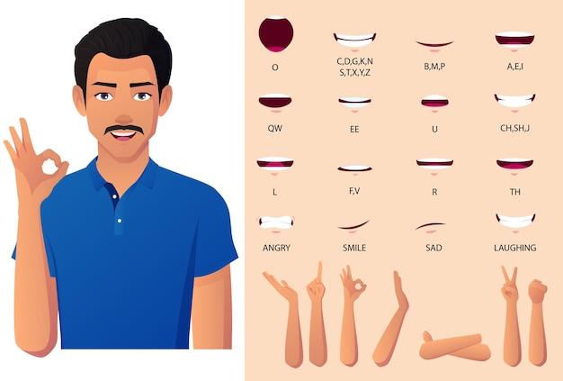 シャツの口、手のジェスチャー、およびリップシンクアニメーションセットのインド人。プレミアムベクトル