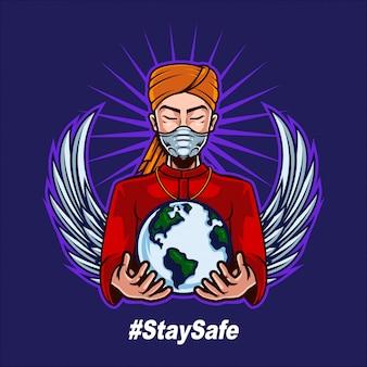 インド人男性がマスクを着用し、人間の戦いをサポートするために世界を保持