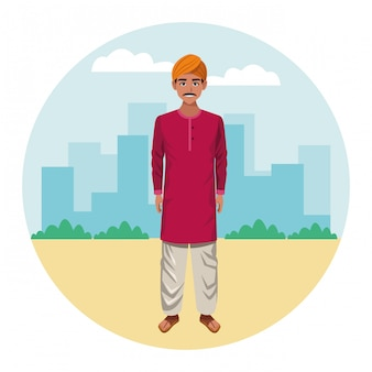 Indian man wearing traditional hindu clothes