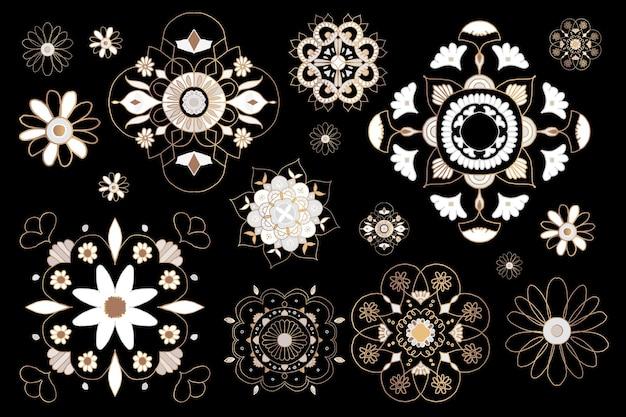 インドの曼荼羅要素シンボルオリエンタル花イラストコレクション