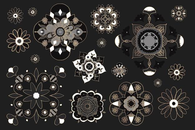 インドの曼荼羅要素シンボルベクトル東洋の花のイラストコレクション