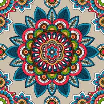 Indian mandala vector seamless pattern