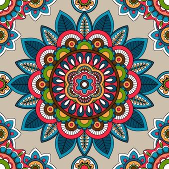 インドのマンダラベクトルシームレスパターン