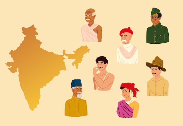 Indian map and people