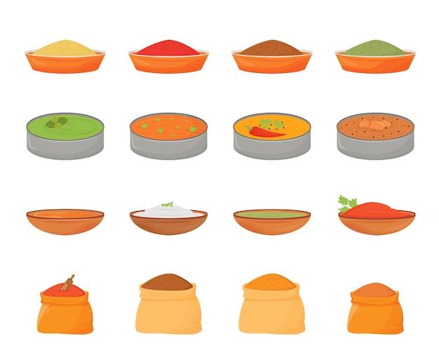 Набор плоских цветных объектов индийских блюд и специй. традиционная еда в металлических тхали, ароматизаторы в деревянных мисках и текстильных мешках 2d изолированные мультяшные иллюстрации на белом фоне