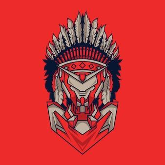 Indian mecha illustration and t-shirt design