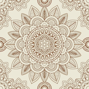 Indian mehendi boho seamless background