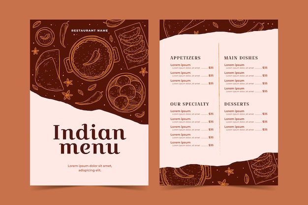 Indian menu with hand drawn details