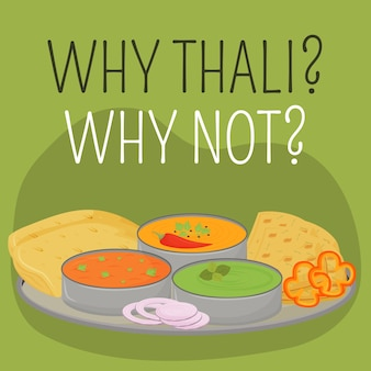 Indian metal plate social media post . why thali, why not phrase. web banner design template. traditional tray booster, content layout with inscription. poster, print ads and flat illustration