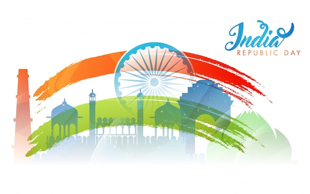 Indian monument background for indian flag color with ashoka wheel.