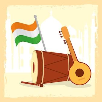 Индийские музыкальные инструменты иллюстрации дизайн